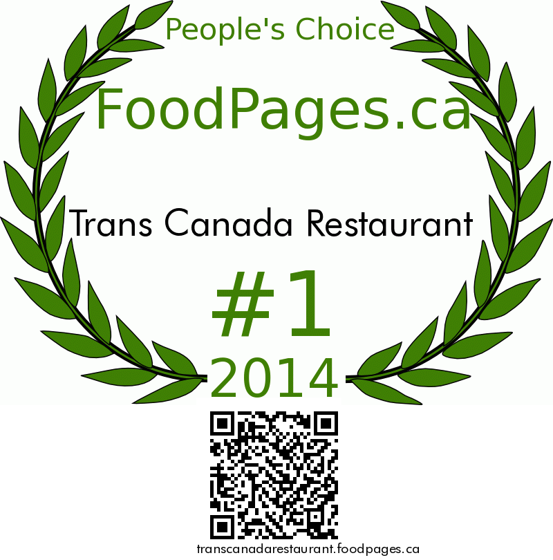 Trans Canada Restaurant FoodPages.ca 2014 Award Winner