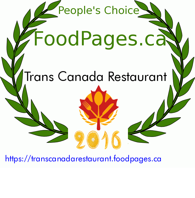 Trans Canada Restaurant FoodPages.ca 2016 Award Winner